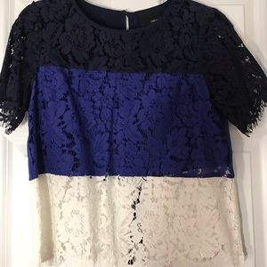 Navy and white lace blouse